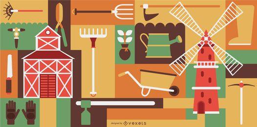 Conjunto de composição de elemento de agricultor