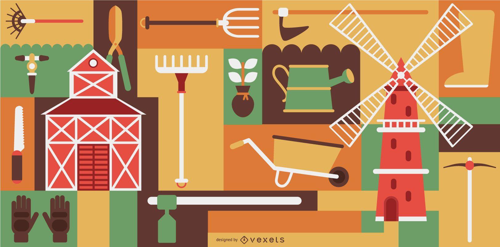 Conjunto de composición de elementos de granjero
