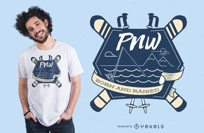 Design de t-shirt de patinagem na neve