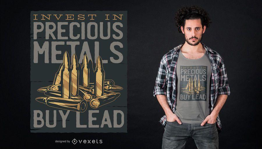 Diseño de camiseta con letras de bala