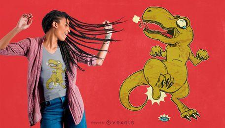 Projeto engraçado do t-shirt de T-rex