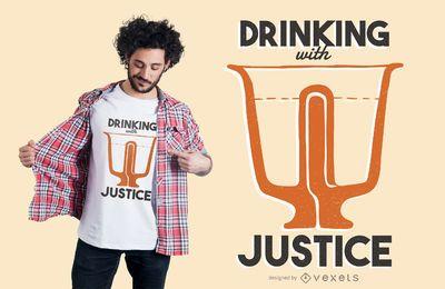 Trinkender lustiger T-Shirt Entwurf