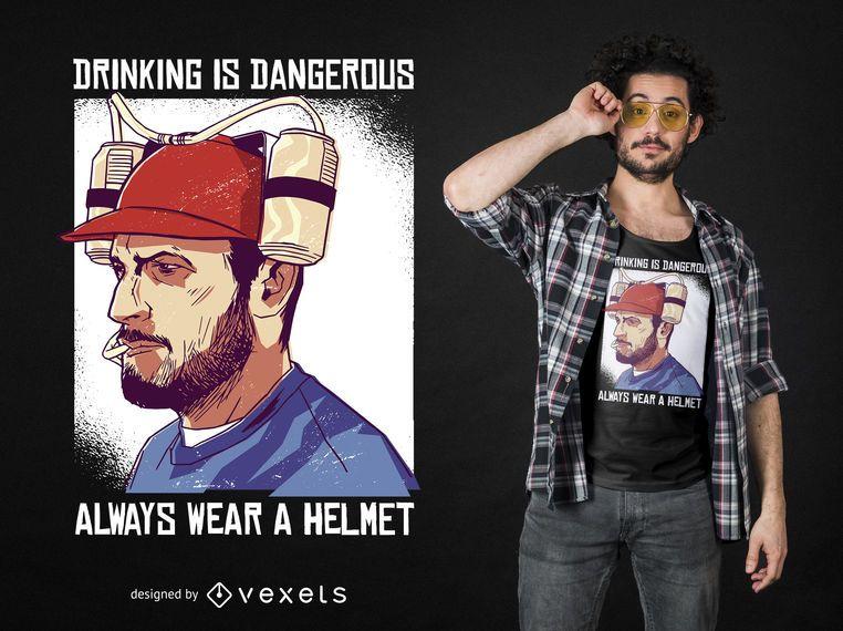 Projeto engraçado do t-shirt do capacete da cerveja