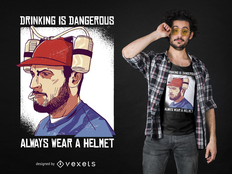 Funny Beer Helmet T-shirt Design