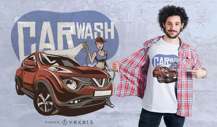 Design de t-shirt de garota de lavagem de carro