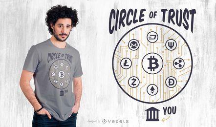 Diseño de camiseta con letras de criptomonedas
