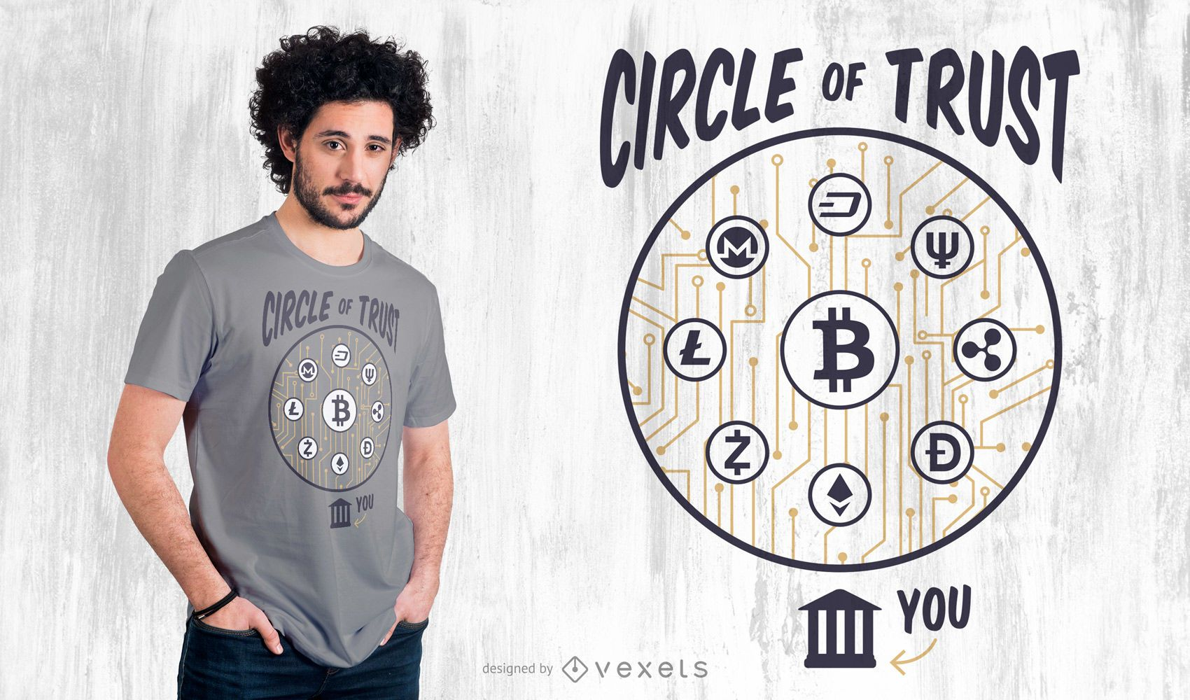 Cryptocurrency Lettering T-shirt Design