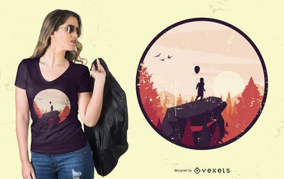 Junge auf Rock Landscape T-Shirt Design