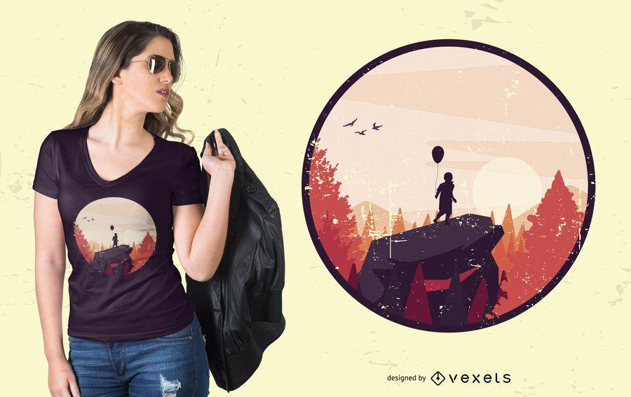 Boy on Rock Landscape T-shirt Design