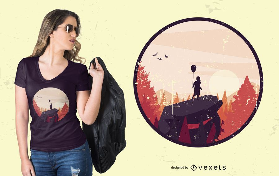 Diseño de camiseta Boy on Rock Landscape