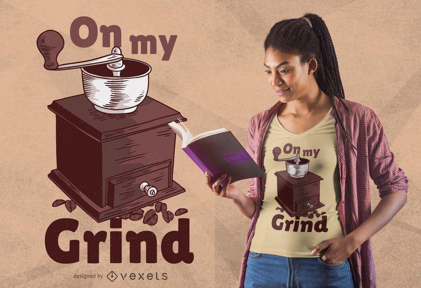 Diseño de camiseta con cita de molinillo de café manual