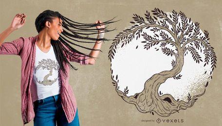 Diseño de camiseta de ilustración de árbol de la vida