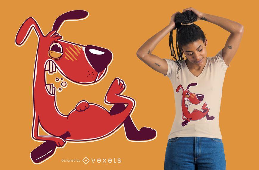 Design bêbado do t-shirt do cão