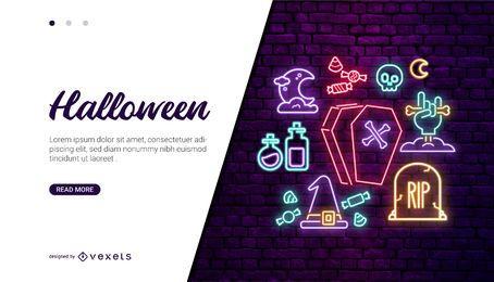 Diseño de tarjeta de iconos de neón de Halloween