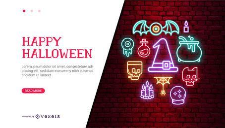 Design de cartão de néon de halloween