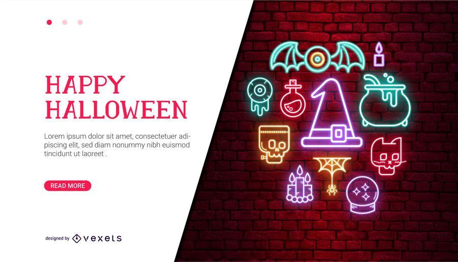 Design de cartão de dia das bruxas néon