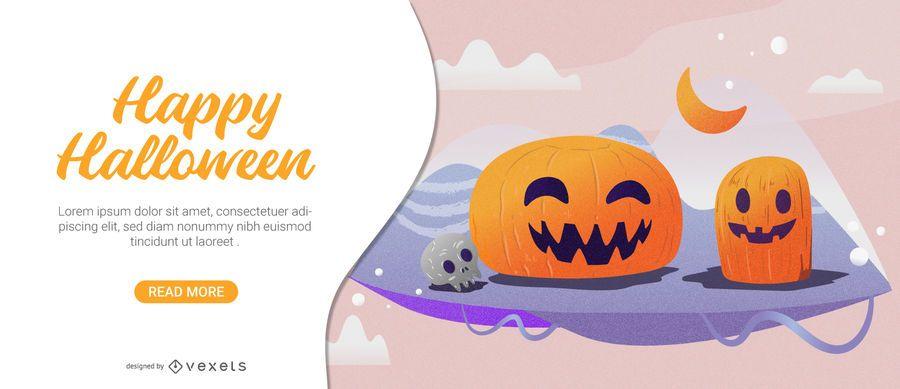Tarjeta linda de halloween de calabazas