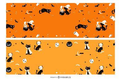 Conjunto de banners de gatos de halloween