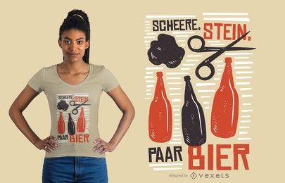 Diseño de camiseta de tijeras y cerveza