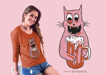 Design de camiseta de gato bêbado