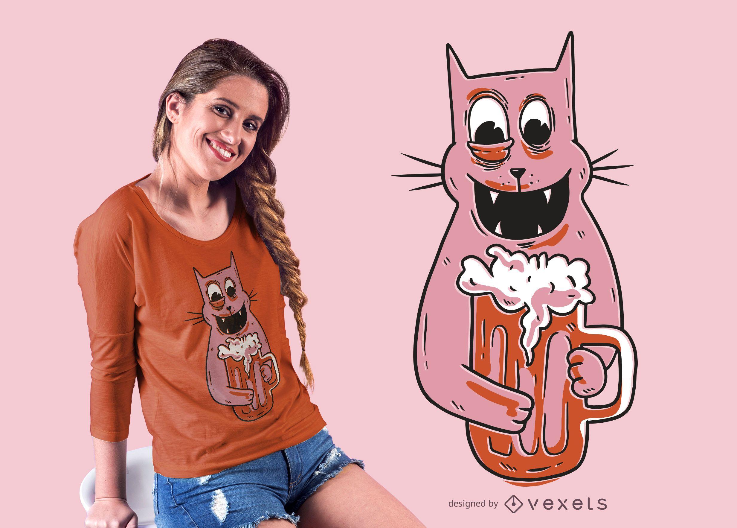 Diseño de camiseta de gato borracho