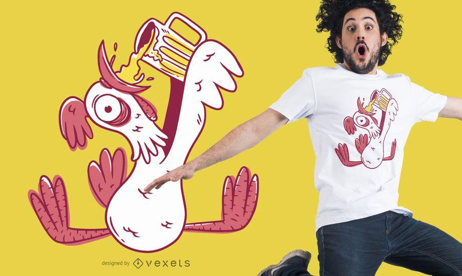 Diseño de camiseta de gallo borracho