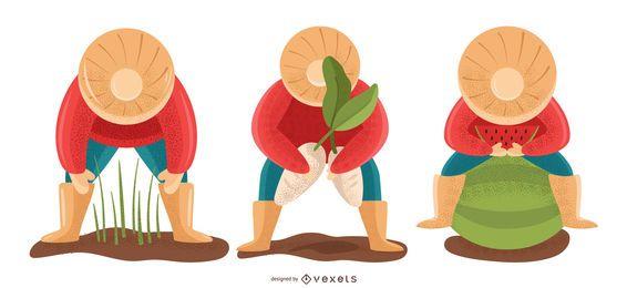 Conjunto de ilustración de personas de agricultura