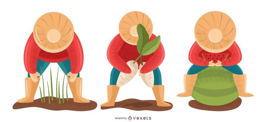 Landwirtschaft Menschen Illustration Set Vektor Download