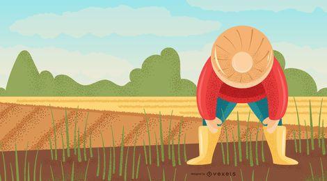 Hombre agricultor en diseño de fondo de campo