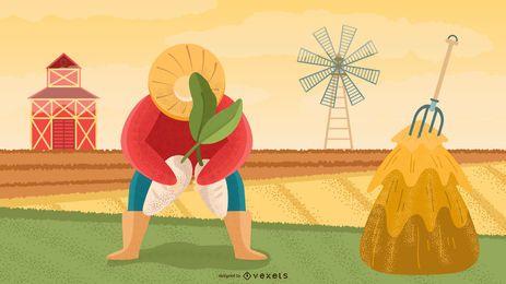 Diseño de ilustración de personaje de granjero