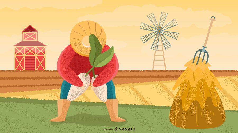 Design de ilustração de personagem de agricultor