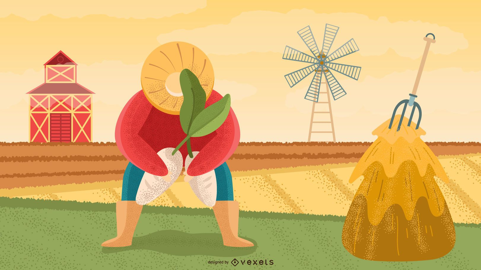 Diseño de ilustración de personajes de granjero