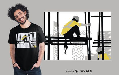Construction Man Silhouette T-shirt Design
