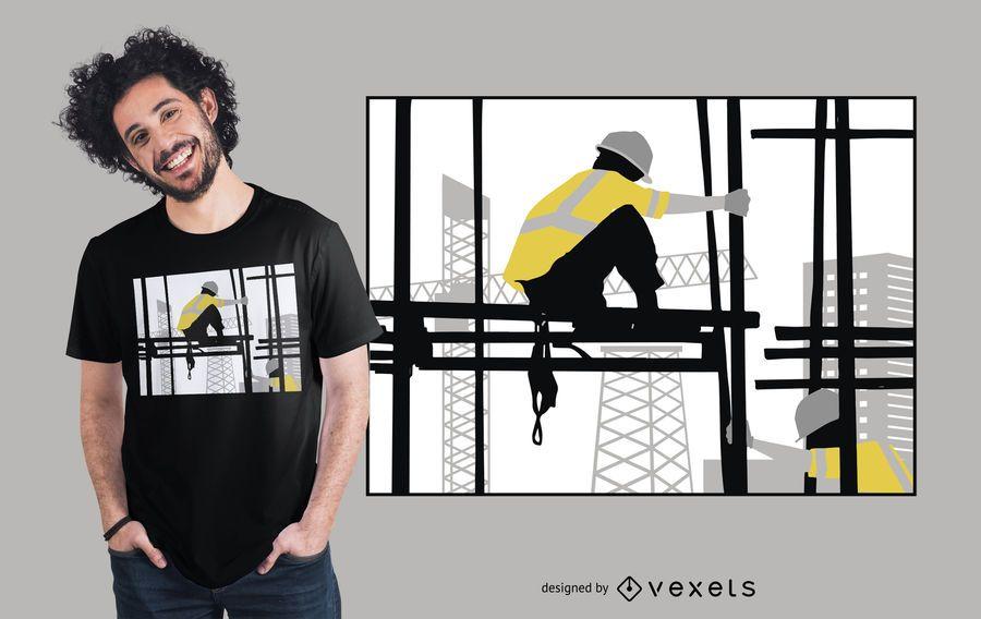 Diseño de camiseta de silueta de hombre de construcción