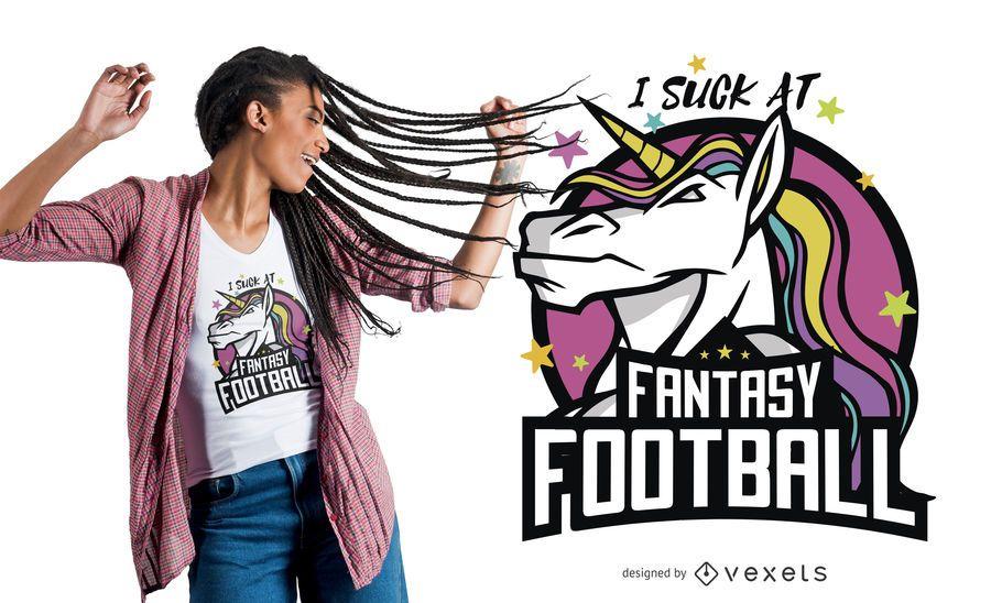 Projeto engraçado do t-shirt do futebol da fantasia do unicórnio