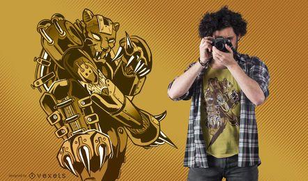Projeto do t-shirt do tigre de Steampunk