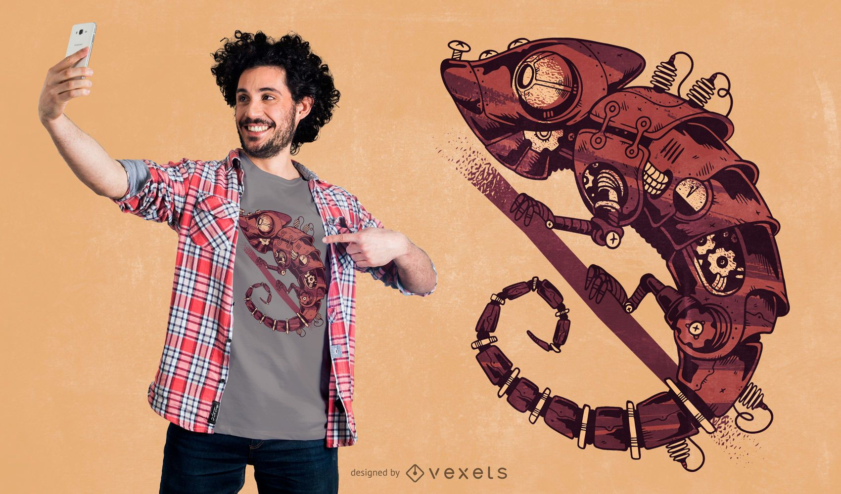 Steampunk Chamaleon T-shirt Design