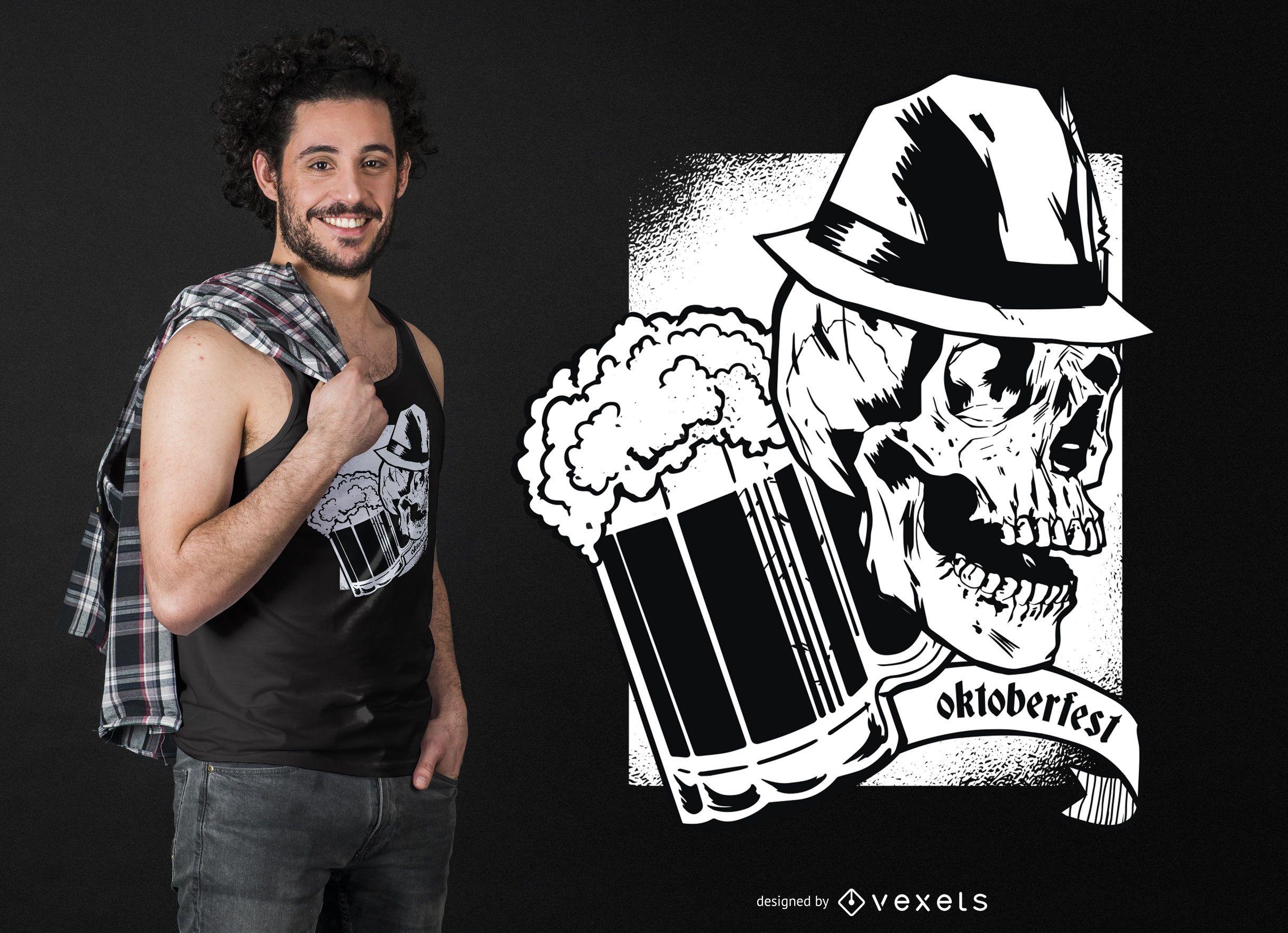 Diseño de camiseta oscura oktoberfest