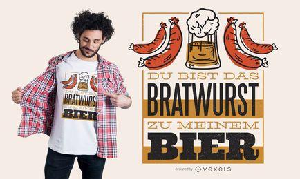 Diseño de camiseta de cerveza alemana cita