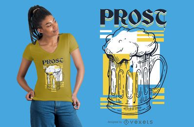 Design de t-shirt prost de cerveja