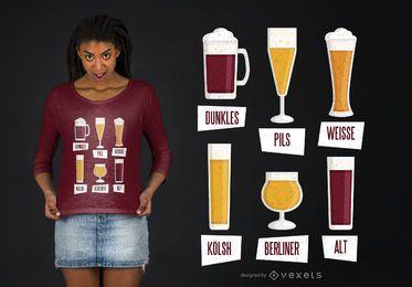 Diseño de camiseta de tipos de cerveza.