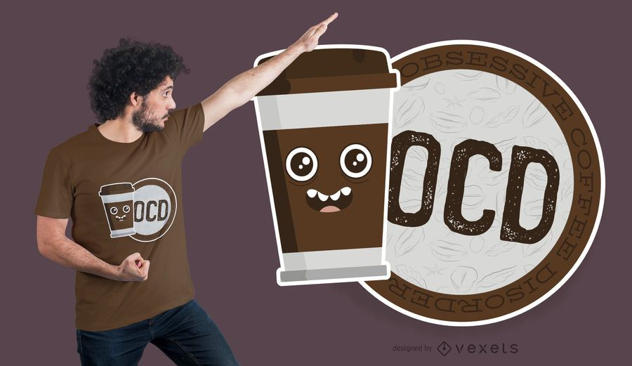 Diseño de camiseta OCD Coffee