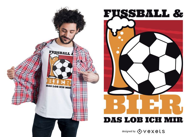 Design de camiseta de futebol e cerveja