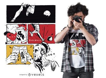 Design de t-shirt em quadrinhos de cerveja futebol
