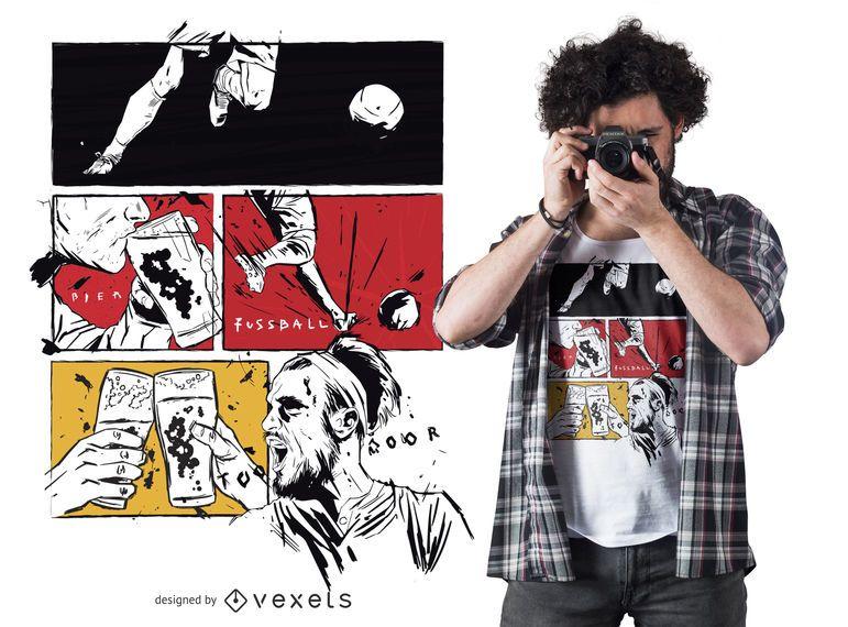 Soccer beer comic t-shirt design