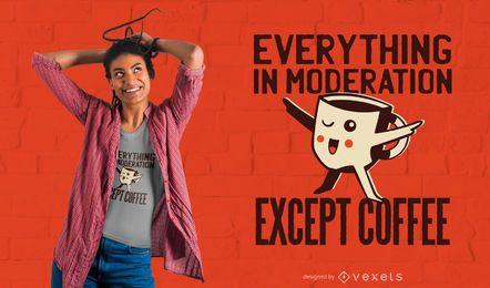 Projeto do t-shirt do kawaii das citações do café
