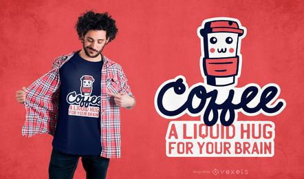 Diseño de camiseta café abrazo