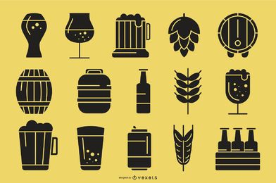 Bier Silhouette Icon Collection