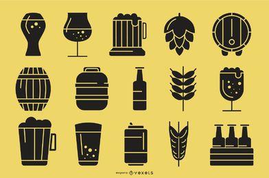 Colección de iconos de silueta de cerveza