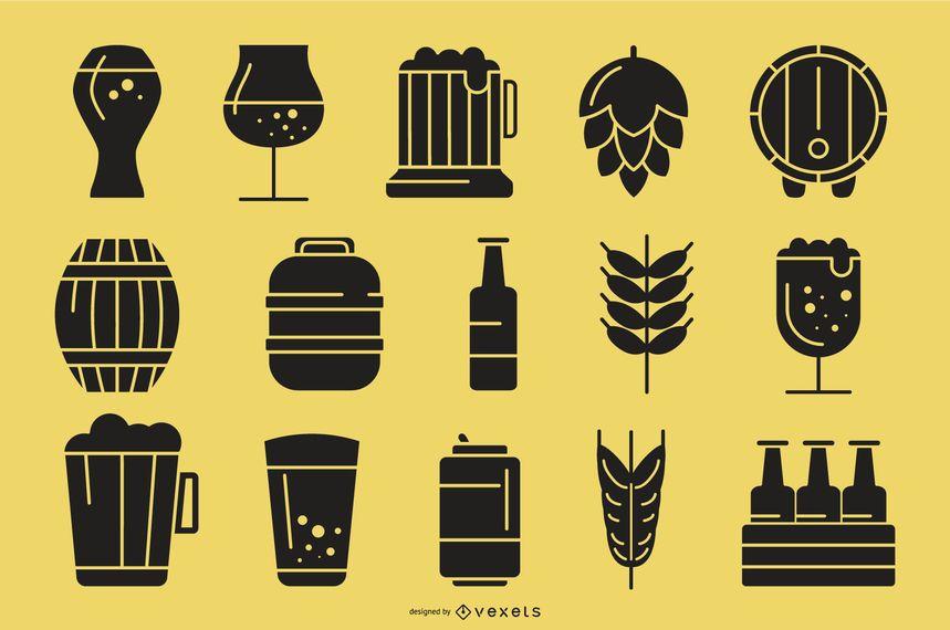 Coleção de ícones de silhueta de cerveja